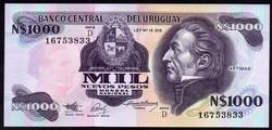 Uruguay 1000 pesos UNC 1992