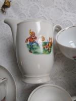 Nagyon ritka törpe mintás antik porcelán babakészlet/gyermek készlet/miniatúra