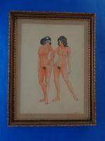 ART DECO AKVARELL KERETEZVE cca 1920