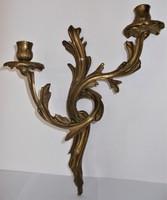 Antik, szecessziós bronz, fali gyertyatartó