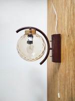 Retro falikar - szarvasi fali lámpa, geometrikus mintázatú üvegbúrával - loft, mid-century modern