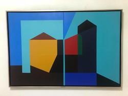 """Aknay János ( 1949 - ) """"Szentendre,És 1 Emlék""""2013 Diptichon /kétszárnyú kép/ mérete: 2x80x60 cm."""