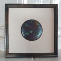 Zsolnay: Falikép 19,5x19,5 cm, eozin, Ginko biloba csendélet, márka és szignó, gyári képkeret