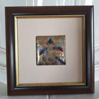 Zsolnay: Falikép 23x23 cm, eozin, a MÉH életkép, márka és szignó, gyári képkeret