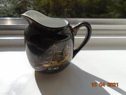 1920 SOKO kézzel festett arany és zománc mintákkal, fekete mázas japán tejszínes kiöntő