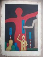 Ef Zámbó István sokszorosított grafika nagy méret 44x32  cm