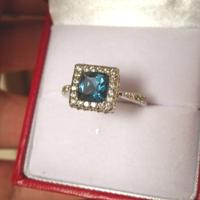 Kuriózum! Londoni kék topáz gyűrű oktagoncsiszolás ezüst - felépítményes