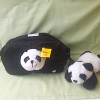 Német plüss panda mackó táska, neszeszer + panda plüss maci ( 2 db)