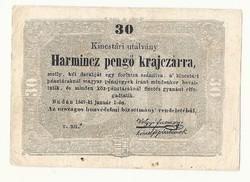 1849 es 30 pengő krajczárra Kossuth bankó papírpénz bankjegy 48 49 es szabadságharc pénze r u ü sor