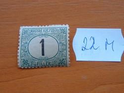 MAGYAR KIR. POSTA 1 FILLÉR 1914 (?) 22M