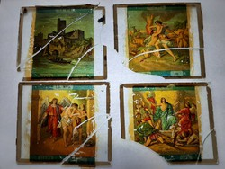Antik dia. Üveglapra festett képek. 1870-1906  Vallási jelenet 4db    törött