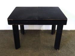 1D458 Régi fekete formatervezett art deco kinyitható ebédlő asztal 110 x 80 cm