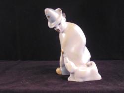 Orosz porcelán bohóc kutyával