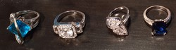 4 darab gyűrű - ezüstözöttek, moissanite, cirkónia és egyéb