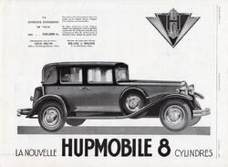 Hupmobile autóhirdetés 1929, eredeti, újság, plakát, francia nyelvű, 29 x 40 cm, régi, hirdetés