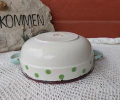 Ritka Bonyhádi   20 cm-es Gyönyörű ritka zöld pettyes pöttyös zománcos tál,  paraszti dekoráció 017