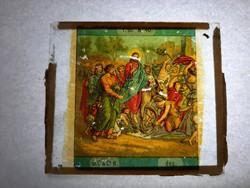 Antik dia. Üveglapra festett képek. 1870-1906  Vallási jelenet 1db