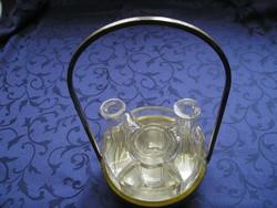 Art Deco alpakka/üveg  asztali fűszeres szett