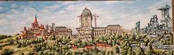 Budavár történet akvarell vászon 90*30