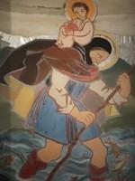 Egyházi témájú falidísz, vastag, mély keretben