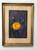 """Árpád Illés (1908 - 1980) painter, graphic """"turtle"""" on egg tempera paper!"""