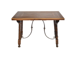 Spanish renaissance table 1500's with rich wood inlay, gold plated metal parts