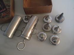 Fém - régi habkinyomó készlet - 7 db cserélhető fejjel - 16 x 8 cm - Osztrák - eredeti dobozában.