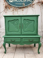 Barokk stílusú zöld színű komódszekrény