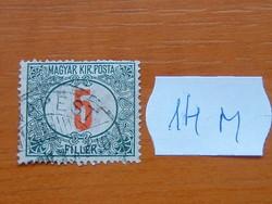 MAGYAR KIR. POSTA 5 FILLÉR 1915-1918 14M