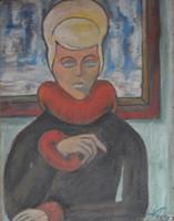 Női arckép festmény, olaj farost, 64 x 49 cm