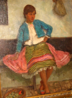 1928-as GARANTÁLTAN EREDETI CZENCZ JÁNOS / 1885-1960/ FESTMÉNY: LÁNY A PADON