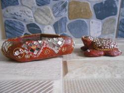 Teknősbéka és hamutartó keleti dísztárgy tükörmozaikos gyöngyös párban