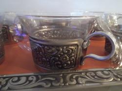 Ezüstözött - 7 db - BONTATLAN - NÉMET -  RETRO - kávéskészlet - tálca 32 x 22 cm csésze 1,5 dl