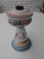 Antik huta fújt tejüveg kézzel festett petróleum lámpatest eladó!