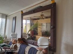 Bőr keretes nagy méretű hibátlan állapotban lévő tükör eladó