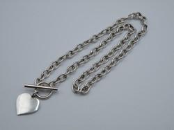 KK1199 T bar kapcsos ezüst nyaklánc fémjelzett 925 szív medál