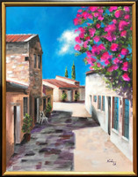 Mediterrán séta - akrilfestmény