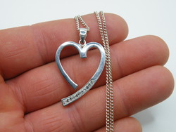 KK1176 Szív alakú ezüst medál és nyaklánc szett 925 fémjelzett