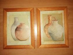 Falikép párban fa képkeretben 15,5*20,5 cm (n)