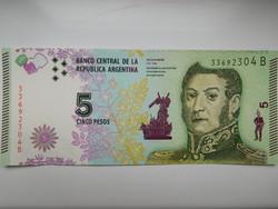Argentina 5 pesos 2016  UNC