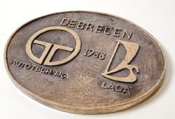 Debrecen / Autótechnika / Lada - bronz plakett 10,8 x 8,6 cm