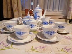 Pazar kézifestésű, komplett 6 személyes teás/kávéskészlet csodaszép formákkal,nagyon szép állapotban