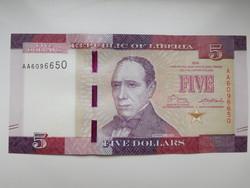 Libéria 5 dollár 2016 UNC