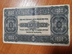 1923 július 1 ezer korona 8 fillér felülbélyegzéssel