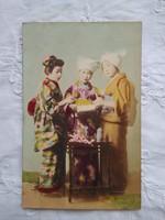 Japán kézzel színezett fotólap/képeslap gésák/gésa 1900-as évek első fele