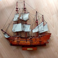 Vitorlás hajó makett, 4 árbócos, fa,  53 cm x 49 cm x 10 cm
