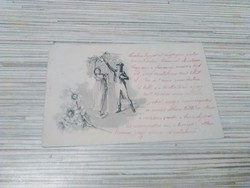 Antik Üdvözlő képeslap. 1901.