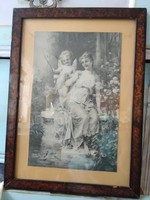 Réges-régi Zatzka nyomat/kép üvegezett fa keretben hölgy angyallal/puttóval