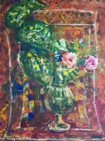 Imre István - Csendélet 66 x 49 cm-es csodálatos akvarellje