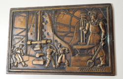 """""""KOVÁCSOLÓGYÁR"""" bronz kisplasztika / plakett 11,5 x 17,4 cm"""